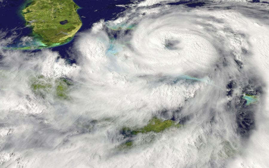 Hurricane preparedness, satellite view of hurricane approaching Florida
