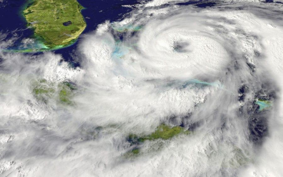 Hurricane preparedness, satellite view of hurricane approaching Florida