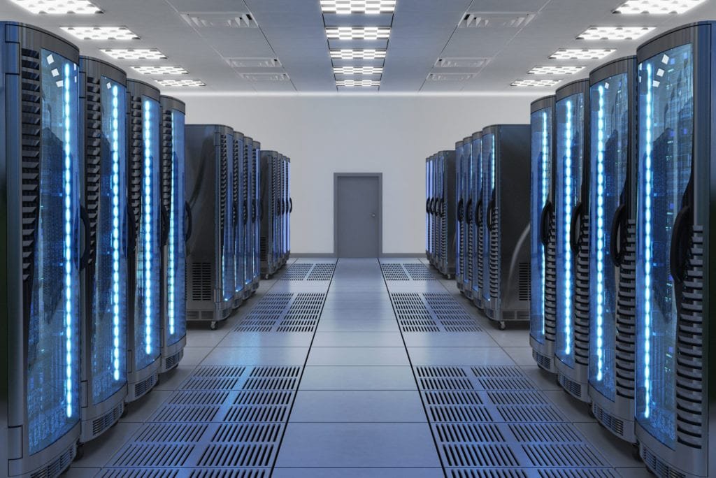 technology insurance property contents equipment. Server racks with equipment in server room