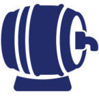 Crafter brewery insurance icon, blue keg on side.
