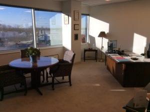 Fairfax, VA insurance agency interior, single office overlooking Fairfax streets.