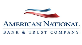 American National Bank logo with glow edges, red, white, and blue stripes over blue letters.