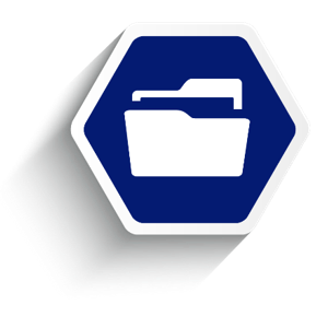 Employee benefit services account management, blue hexagon with file folder.