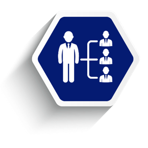 Employee benefit services administration, blue hexagon showing people connected by lines.