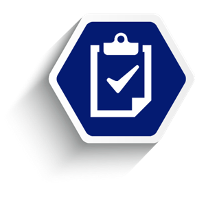 Employee benefit services compliance, blue hexagon with clipboard with check mark.