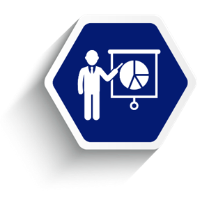 Employee benefit services education, blue hexagon with man pointing to pie chart on pull down projector screen.