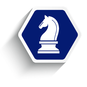 Employee benefit services strategy, blue hexagon with knight chess piece.