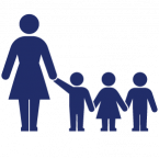 Childcare and daycare insurance icon, blue graphic of woman with three children next to her.