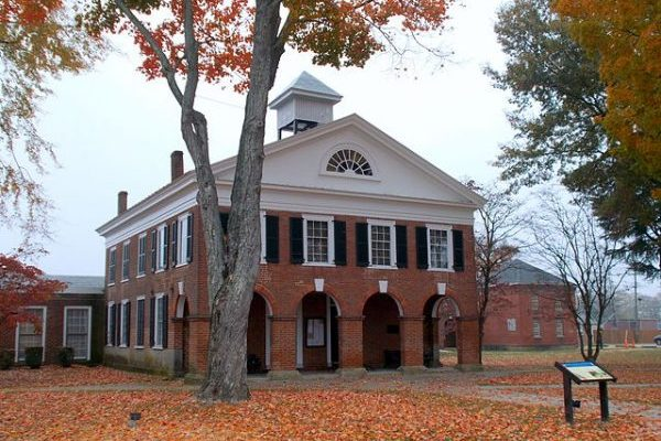 Bowling Green, VA insurance agency, two story brick courthouse, Caroline County Courthouse.
