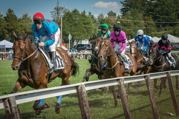 Charlottesville, VA insurance agency, the Foxfield Races nearby, several brightly colored jockeys atop race horses running close to the rail.