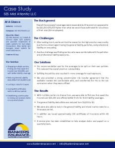 Case study for a contractor insurance client, SES Mid Atlantic.