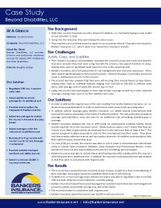 Case study for a social service insurance client, Beyond Disabilities.