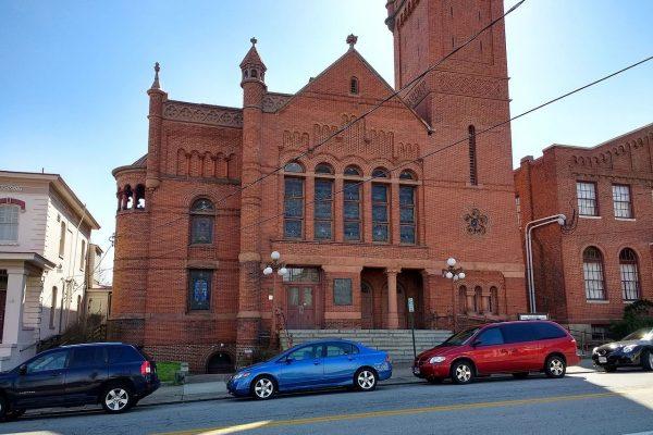 Danville, VA Main Street Methodist Historic District. Large brick church on main street.