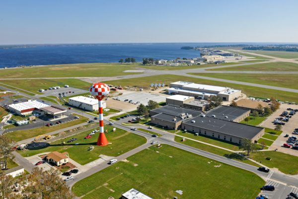 Elizabeth City, NC, aerial view of Coast Guard Aviation Technical Training Center.