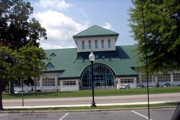 Elizabeth City, NC, the Museum of the Albemarle, a large building with many windows and green roof.