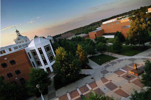 Fairfax, VA George Mason University, aerial view of the Johnson Center with sunrise.
