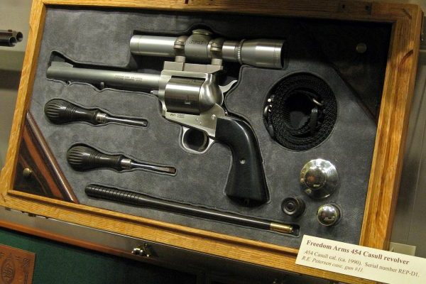Fairfax, VA National Firearms Museum, stainless revolver in display box.