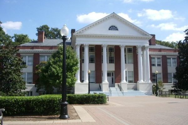 Fredericksburg, VA University of Mary Washington, two story brick building with large white Greek columns forming covered portico.
