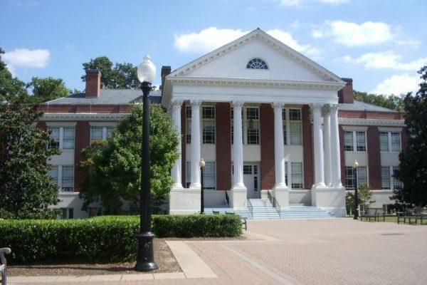 Fredericksburg, VA University of Mary Washington, two story brick building with large white Greek columns forming covered portico.