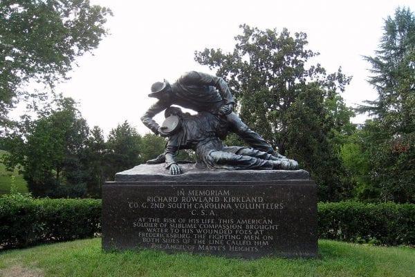 Fredericksburg, VA Fredericksburg & Spotsylvania National Military Park, Richard Kirkland memorial, bronze statue of man giving water to a wounded soldier.