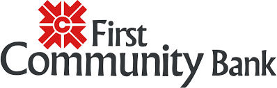 First Community Bank Logo, four red arrows pointing inward toward a red C, black lettering.