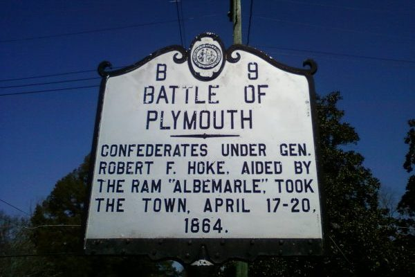 Plymouth, NC silver sign with black letters commemorating the battle of Plymouth on April 17th through the 20th, 1864.