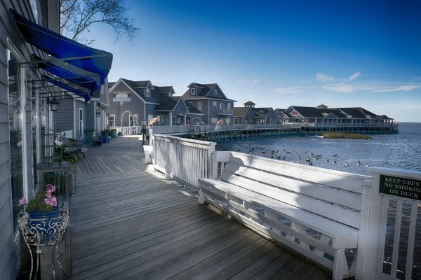 Outer Banks, NC gray weathered boardwalk lined with blue stores on one side, open water with floating geese the other.