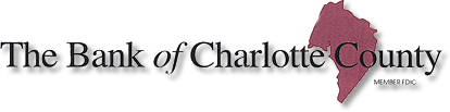 The Bank of Charlotte County logo, black letters with maroon shape of county in background.