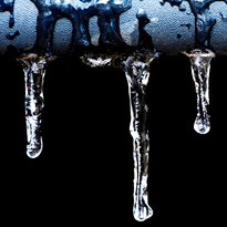 Cincinnati frozen pipes, pipe with ice sickles dangling.