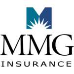 Maine Mutual Insurance Logo, white sunburst inside blue and green capital M over black wording.
