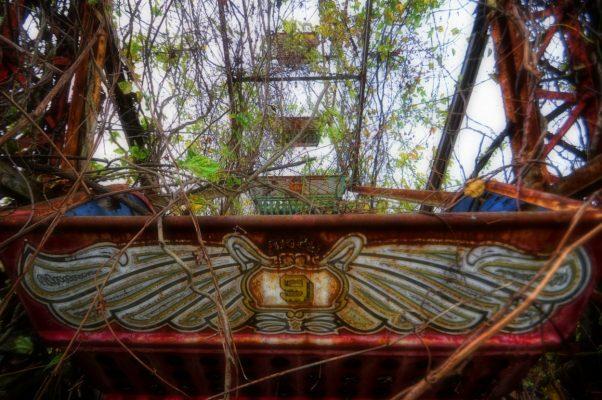 Rusted Ferris wheel of Lake Shawnee Amusement Park near our Bluefield, WV insurance agency