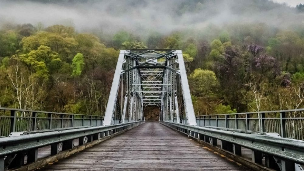 Foggy day at Fayette Station bridge north of our Princeton, WV Insurance Agency.