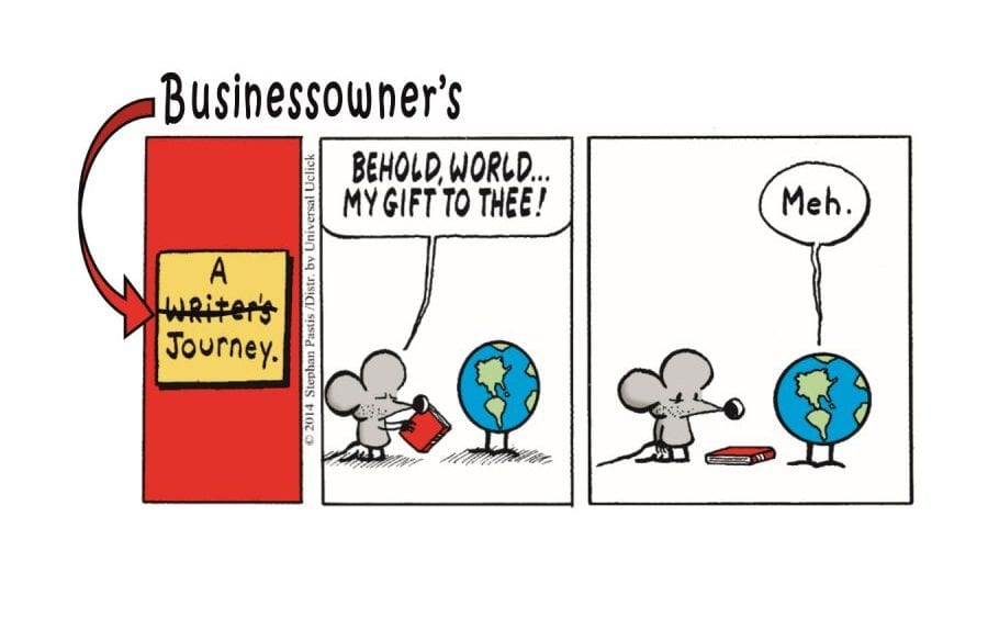 """Cartoon of a rat presenting a product to the world and world responds """"Meh."""""""
