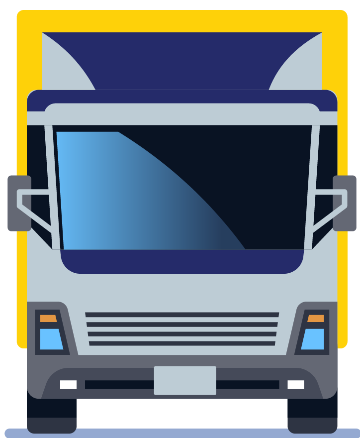 Blue and yellow box truck.