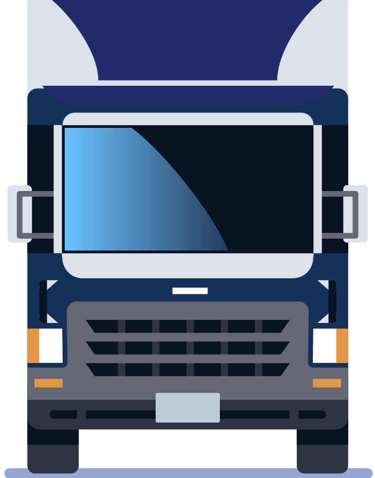 Blue and gray semi truck.