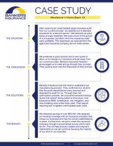 Case study of a manufacturer's insurance program, located in Virginia Beach, Virginia.