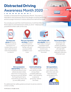 Infographic with tips on reducing distracted driving.