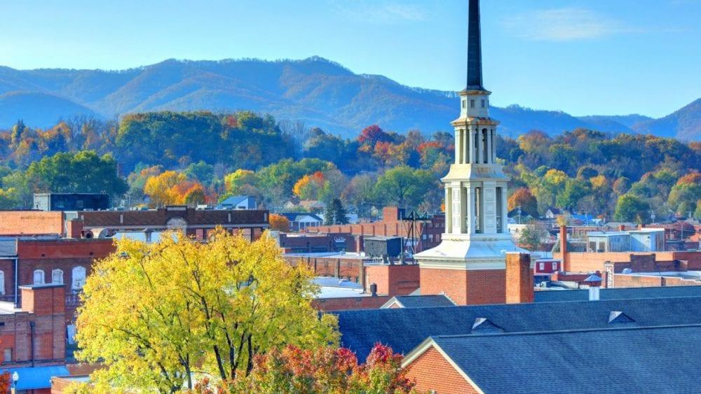 Autumn colors and blue sky of Johnson City, NT landscape.