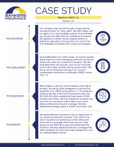 A case study for Meadows CMPG, a company in Norfolk, VA, regarding their insurance program.