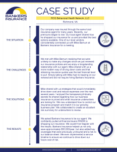 A case study for RCG Behavioral Health Network, LLC, a company in Richmond VA, on their insurance program.