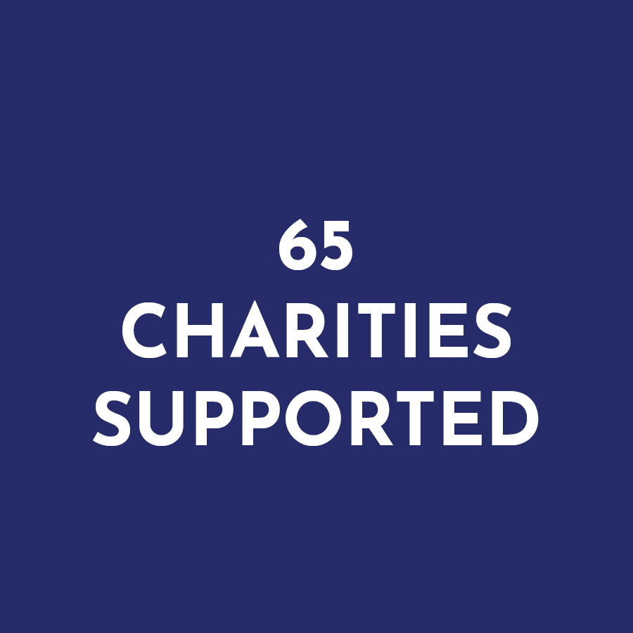 65 charities supported
