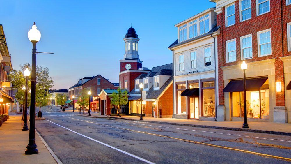 Main street retail buildings on a U.S. street.