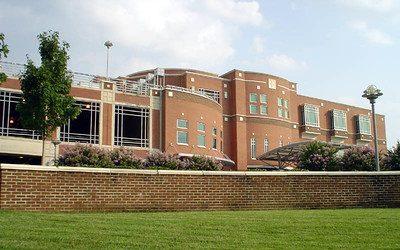 Large brick hospital.