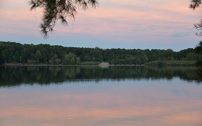 Sunset over Lake Trace in Sanford, NC.