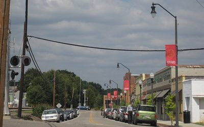 Downtown side street with retail shops in Sanford, NC.