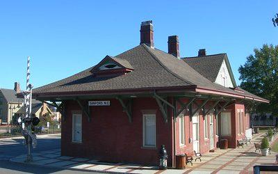 Small brick train station in Sanford, NC.