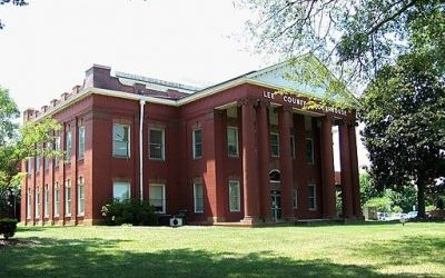 Old brick Lee County Courthouse in Sanford, NC.
