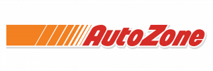 """Red """"AutoZone"""" with lines indicating movement."""