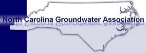 Map of North Carolina with North Carolina Groundwater Association lettered across it.