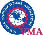 Globe on blue background encircled by Virginia Manufacturers Association.